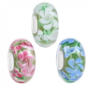 Boruo 925 Sterling Silver Hawaii Spring Flower Murano Lampwork European Glass Crystal Charms Beads Top Quality Solid Core Charm Fit Pandora Bracelets.