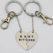 Charm Best Bitches Keychain, Best Friend Keychain, BFF Keychain, Split Heart Keychain, Best Friend Forever Christmas Gift