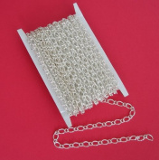 BeadsTreasure 3m Spool-Silver Plated Twist Mother-Son Chain-3.8x6mm-3.2x2.5mm Jewellery Making Supply.