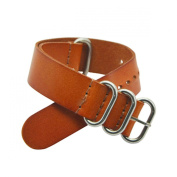 20mm Nato Style Leather Interchangeable Watch Strap Band Silver Stainless Steel Buckle