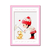DOMEI Stamped Cross Stitch Kit, Kids and Cat in Snow Winter, 37cm x 38cm