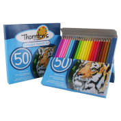 Thornton's Art Supply Premier Soft Core 50 Piece Artist Grade High Quality Coloured Pencil Set, Assorted Colours