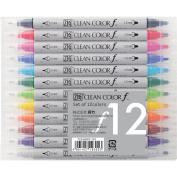 Kuretake Zig Twin Tip Marker Clean Colour F, 12 Colour Set