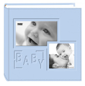 "Pioneer Photo Albums 200-Pocket Embossed ""Baby"" Leatherette Frame Cover Album for 10cm by 15cm Prints, Blue"