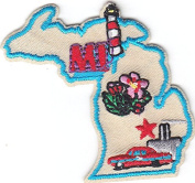 """MI"" - MICHIGAN STATE SHAPE PATCH - Iron On Embroidered Applique/Midwest,Cars"