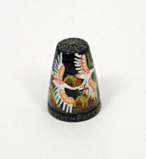 Russian Hand Painted Lacquer Thimble SWANS #1412