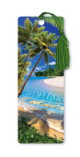 Dimension 9 3D Lenticular Bookmark with Tassel, Tropical Beach Scene Featuring Sand and Palm Trees