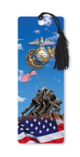 Dimension 9 3D Lenticular Bookmark with Tassel, U.S. Marine Corps Featuring Iwo Jima Memorial and American Flag