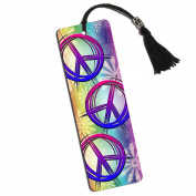 Hippie Peace Signs and Flowers Printed Bookmark with Tassel