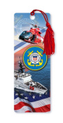 Dimension 9 3D Lenticular Bookmark with Tassel, U.S. Coast Guard Featuring HH-65C Dolphin Helicopter and USCGC Bertholf Cruiser WMSL-750