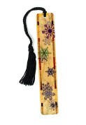 Snow Flakes in Colour - Winter Scene - Wooden Bookmark with Tassel