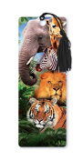 Dimension 9 3D Lenticular Bookmark with Tassel, Zoo Animals Featuring Elephant, Lion, and Tiger