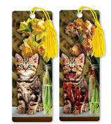 Dimension 9 3D Lenticular Bookmark with Tassel, Evil Zombie Tabby Kitten with Yellow Flowers