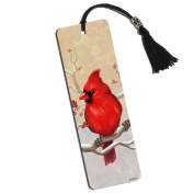 Cardinal in Winter Printed Bookmark with Tassel