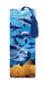 Dimension 9 3D Lenticular Bookmark with Tassel, Blue Dolphins Featuring Gold Coral Reef