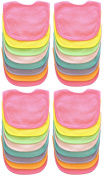 Neat Solutions 32 Pack Multi-Colour Solid Knit Terry Feeder Bib, Girl