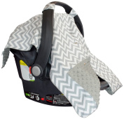 Premium Carseat Canopy Cover with Peekaboo Opening- Large Chevron Print with Grey Dot Minky   Best for Infant Car Seat, Boy or Girl   All Weather   Universal Fit   Baby Shower Gift   Newborn Decor