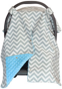 Premium Carseat Canopy Cover with Peekaboo Opening- Large Chevron Print with Blue Dot Minky | Best for Infant Car Seat, Boy or Girl | All Weather | Universal Fit | Baby Shower Gift | Newborn Decor