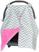 Premium Carseat Canopy Cover with Peekaboo Opening- Large Chevron Print with Hot Pink Dot Minky | Best for Infant Car Seat, Boy or Girl | All Weather | Universal Fit | Baby Shower Gift | Newborn Decor