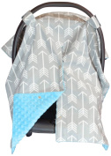 Premium Carseat Canopy Cover and Nursing Cover- Large Arrow Pattern w/ Blue Minky   Best Infant Car Seat Canopy, Boy or Girl   Cool/ Warm Weather Car Seat Cover   Baby Shower Gift 4 Breastfeeding Moms
