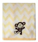 Little Beginnings Chevron Monkey Blanket, Yellow