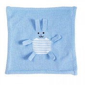 Estella Hand Knitted Organic Cotton Baby Security Blanket, Blue Bunny