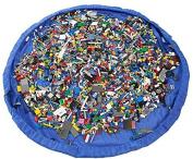 Eshowy Toy Storage Bag Organiser Kid Play Mat Portable Lego Organiser Foldable Picnic Camping Mattress Shoulder Bag Blue 60''
