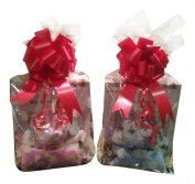 Baby casting kit for hand or foot print, frame and a blue baby comforter gift set & Red Ribbon