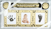 New Baby Unisex Boy Girl Gift 4 Piece Keepsake Set, First Curl and Tooth Box, Hand and Footprint Prints Kit, Gold Black
