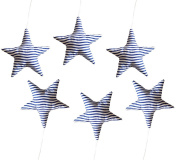 Vizaro - Handmade Hanging Stars for Baby Room Decoration (6 pieces Set) - 100% Premium Quality Luxury Cotton - Rocking Pony Collection - Dark blue and White Colours - Tested against harmful substances - Made in EU