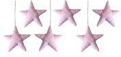 Vizaro - Handmade Hanging Stars for Baby Room Decoration (6 pieces Set) - 100% Premium Quality Luxury Cotton - Pink & White Collection - Tested against harmful substances - Made in EU