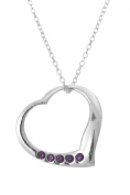 .925 Sterling Silver Pendant & Necklace Gift Boxed Birthstone Heart February Amethyst