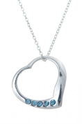 .925 Sterling Silver Pendant & Necklace Gift Boxed Birthstone Heart March Aquamarine