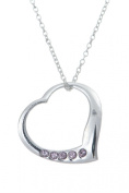 .925 Sterling Silver Pendant & Necklace Gift Boxed Birthstone Heart June Amethyst