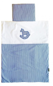Vizaro - Quilt & pillow for Moses Basket - 100% Luxury Cotton - Rocking Pony Collection - Dark blue and White Colours - Tested against harmful substances - Made in EU