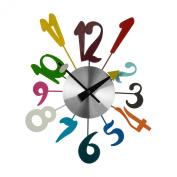 Funky Numbers Metal / Plastic Wall Clock