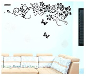 Elegant Black Flower Vine and Butterflies Wall Decals, popular Flowers Wall Sticker Wall Mural Home Decor Room Decor Kids Room, Living Room Bedroom Removable Wall Stickers Murals, Black