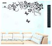 Elegant Black Flower Vine and Butterflies Wall Decals, popular Flowers Wall Sticker Wall Mural Home Decor Room Decor Kids Room, Living Room Bedroom Removable Wall Stickers Murals, Black