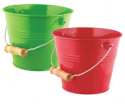 Toysmith Bright & Colourful Pail, 2 Pack, Green/Red