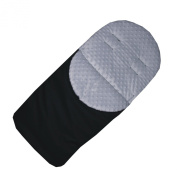 eBabygoods Universal Fleece Footmuff - White Cuddlesoft Dimple/Black Rainproof Cover for Buggies and Pushchairs