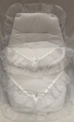 Broderie Anglaise Beautiful Frilly Footmuff/ Cosy Toes Sparkling White