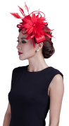 La Vogue Women Feather Fascinators Large Satin Wedding Hat Hair Accessory Red