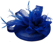 La Vogue Women Sinamay Small Fascinator Feather Cocktail Hat Hair Clip Light Royal Blue
