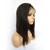 Natural Looking Italian Yaki Lace Front Wig Best Brazilian Remy Human Hair Wigs For African Americans 130% Density Natural Colour