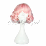 COSPLAZA Cosplay Wigs Cute Short Light Pink Spiral Halloween Christmas Party Hair