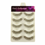 Vivi's Collection 5 Pairs V111 Natural Eyelashes Black False Eye Lashes