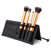 4 Brushes Makeup Set - Synthetic Hair, Aluminium Handle, Fabric Carry travel Case - Black by TARGARIAN