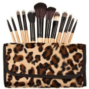 Leopard Pattern 12 Make up Brushes Set - Nylon Hair, Aluminium Ferrule, Natural Wood Handle, Leather Bag by TARGARIAN