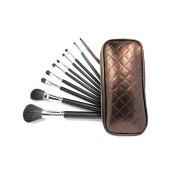 10 Make up Brushes Set - Goat and Pony Hair, Aluminium Ferrule, Natural Wood Handle, PU Bag by TARGARIAN