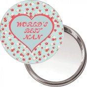 "Unique Makeup Button Mirror ""WORLD'S BEST NAN"" Ideal Christmas or Mothers' Day Gift Idea. Delivered in a black organza bag."